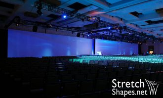 white, stretch, spandex, truss wrap projection screen