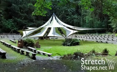 Custom shapes, tension fabric, tent, spandex sails, shade cover