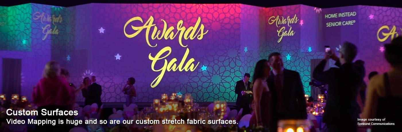 custom surface, stretch fabric, video mapping, tension fabric