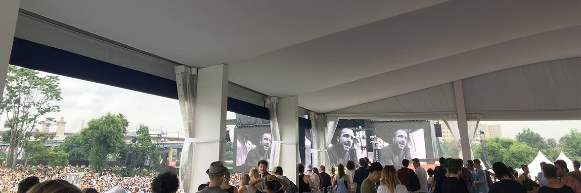A view from inside the Amex Experience tent with its Tent Liner