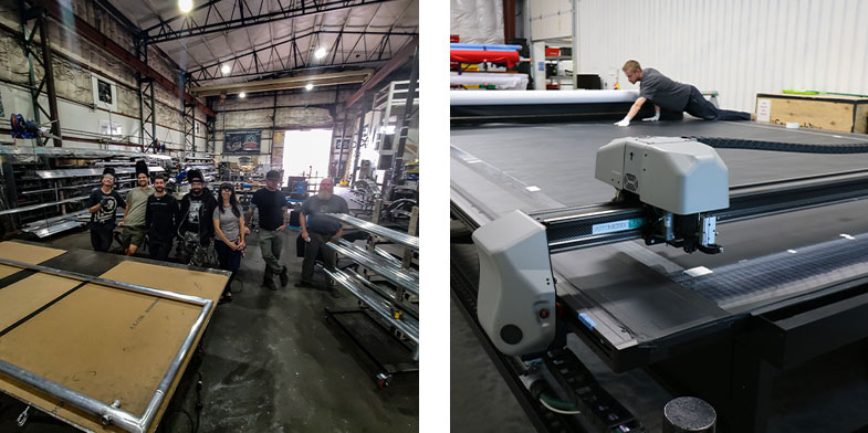 Step Four: Our metal fabrication and fabric production teams work on creating the client's project. On the left of this image, a group photo of our talented metal fabrication team. On the right, a CNC operator preps the CNC machine to cut fabric.