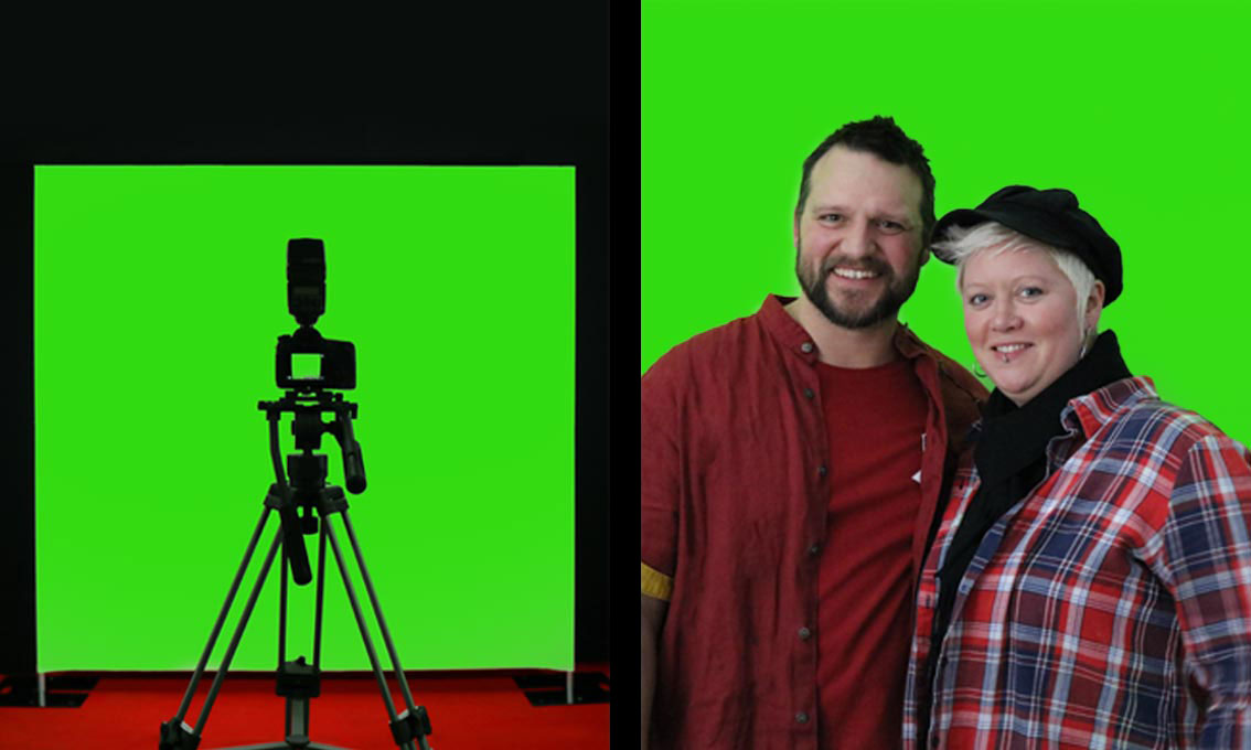 A digital green Quick Wall being used as a green screen for ChromaKeying
