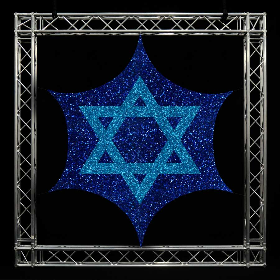 A printed Flat Panel Sail with a blue background and a light blue Star of David