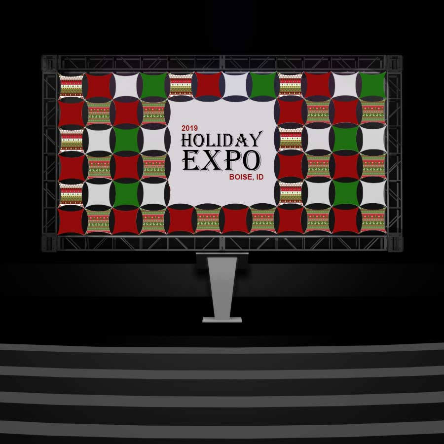 Printed Panel Wall Tiles in a green and red pattern with an insert announcing the 2019 Holiday Expo