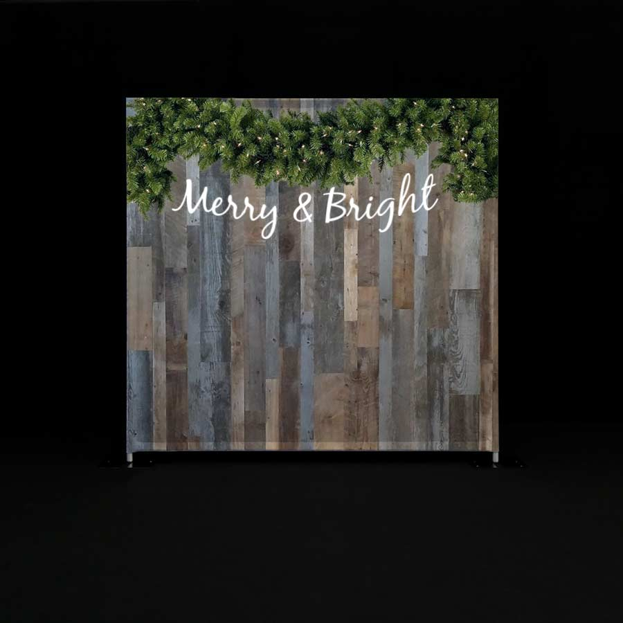 Printed Quick Wall with a shabby chic woodgrain pattern and the words Merry and Bright