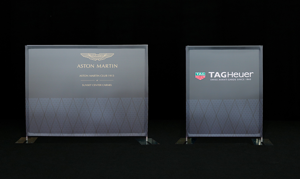 A pair of printed Quick Walls for Aston Martin and Tagheuer