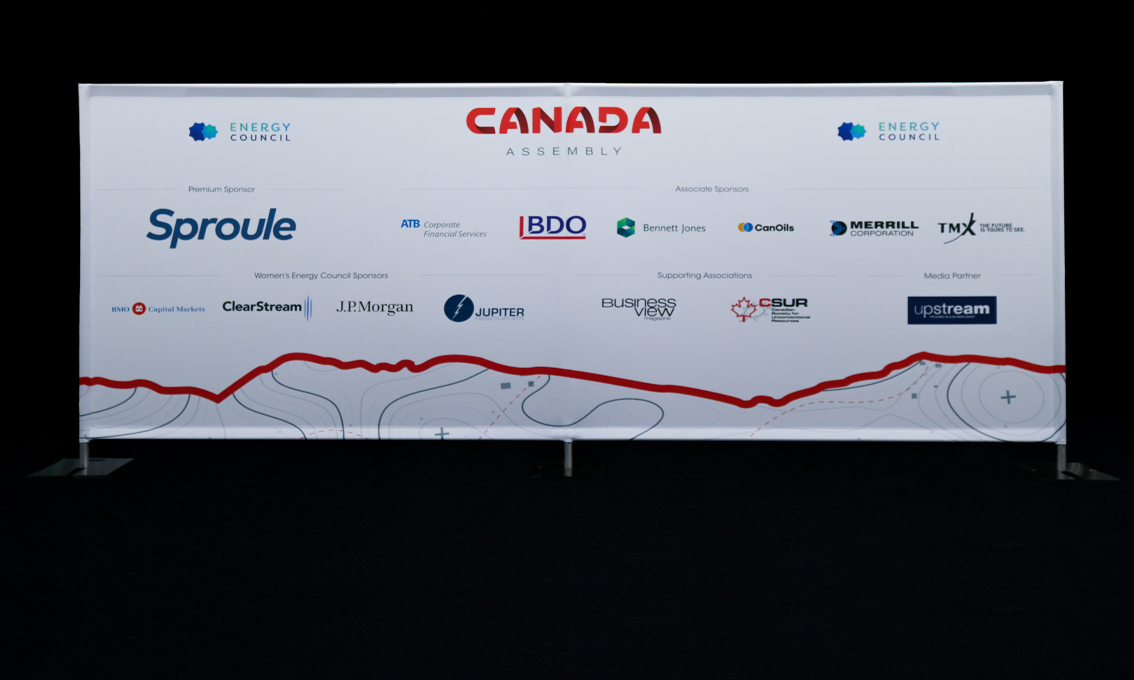 A Quick Wall printed as a sponsorship wall for Canada Assembly