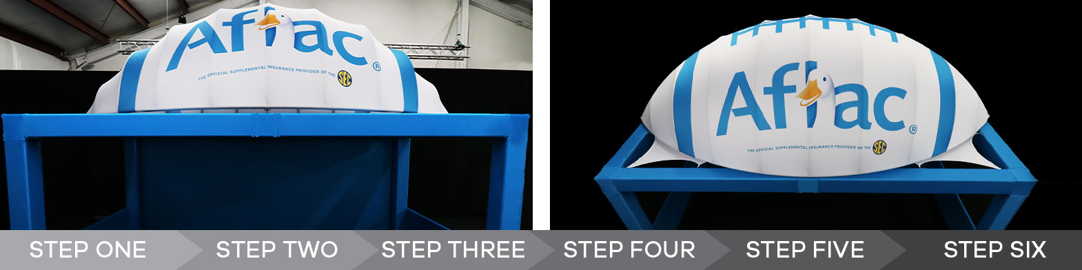 Two photos of the custom half-football and truss cover structure created for Aflac